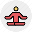 focus, man, meditate, meditation, relax, sitting, yoga icon