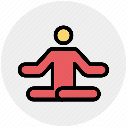 focus, man, meditate, meditation, relax, sitting, yoga icon