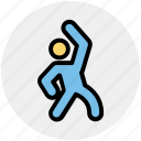 body, exercise, exercising, gym, man, stretching, workout icon