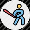 baseball, baseball bat, baseball player, bat, glove, sports, sportsman