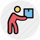 box, carrying, item, man, moving, object, parcel