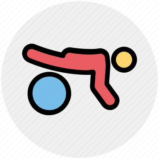 ball, exercise, fitness, gym, plank icon