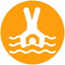 dip, dive, jump, man, sea, swim, water icon