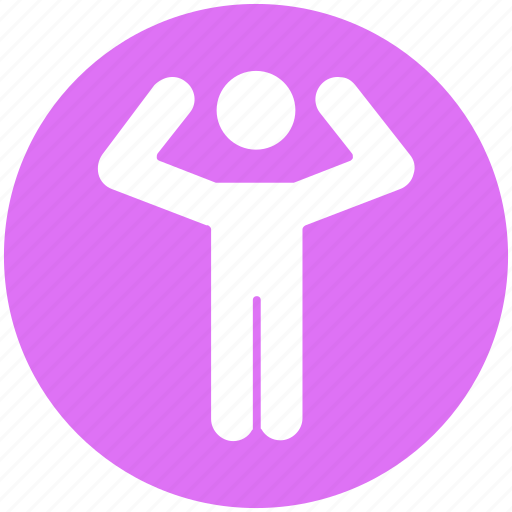 arms, exercise, man, raising, standing, tow hands, up icon