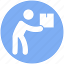 box, carrying, item, man, moving, object, parcel icon