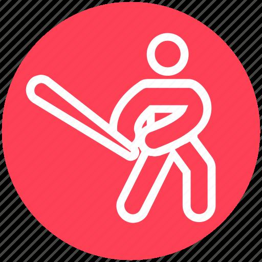 baseball, baseball bat, baseball player, bat, glove, sports, sportsman icon