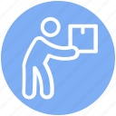 box, parcel, object, item, carrying, moving, man icon