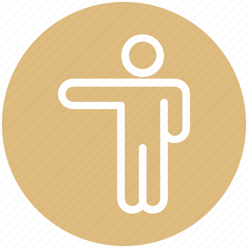 arm, direction, left, man, people, person, point, showing icon