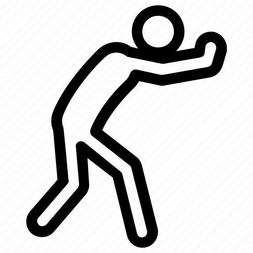 exercising, man, standing, stretching, workout icon