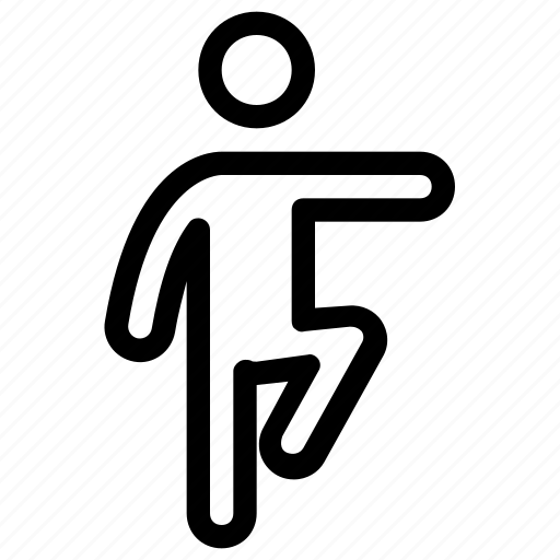 exerciser, man, standing, stretching, workout icon