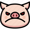 angry, emoji, emotion, expression, face, feeling, pig
