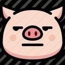annoying, emoji, emotion, expression, face, feeling, pig icon