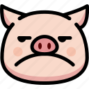annoying, emoji, emotion, expression, face, feeling, pig
