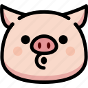 blowing, emoji, emotion, expression, face, feeling, pig