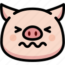 confounded, emoji, emotion, expression, face, feeling, pig