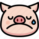 cry, emoji, emotion, expression, face, feeling, pig