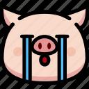 cry, emoji, emotion, expression, face, feeling, pig icon