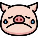 cry, emoji, emotion, expression, face, feeling, pig icon