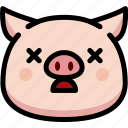 dead, emoji, emotion, expression, face, feeling, pig icon