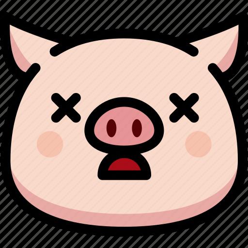 dead, emoji, emotion, expression, face, feeling, pig icon