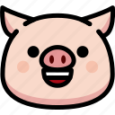 emoji, emotion, expression, face, feeling, happy, pig