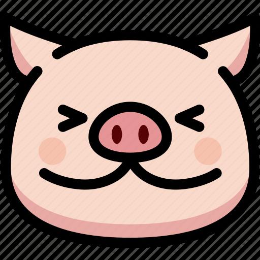 emoji, emotion, expression, face, feeling, happy, pig icon
