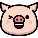 emoji, emotion, expression, face, feeling, happy, pig