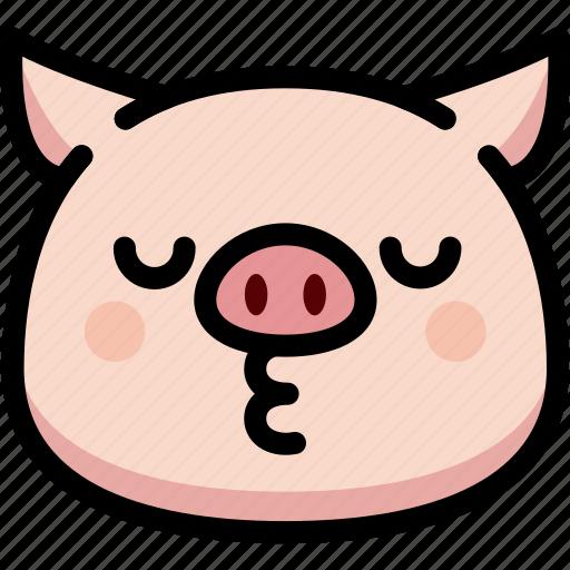 emoji, emotion, expression, face, feeling, kiss, pig icon