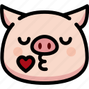 emoji, emotion, expression, face, feeling, kiss, pig
