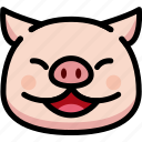 emoji, emotion, expression, face, feeling, laughing, pig