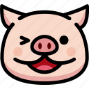 emoji, emotion, expression, face, feeling, laughing, pig icon