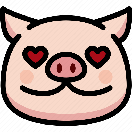 emoji, emotion, expression, face, feeling, love, pig icon