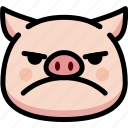 emoji, emotion, expression, face, feeling, mad, pig
