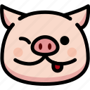 emoji, emotion, expression, face, feeling, naughty, pig