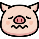 emoji, emotion, expression, face, feeling, nervous, pig