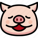 emoji, emotion, expression, face, feeling, pig, relax