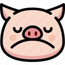 emoji, emotion, expression, face, feeling, pig, sad