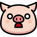 emoji, emotion, expression, face, feeling, pig, shocked