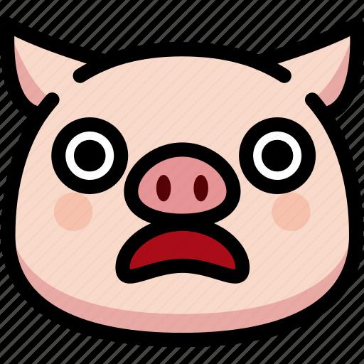 emoji, emotion, expression, face, feeling, pig, shocked icon