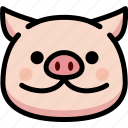 emoji, emotion, expression, face, feeling, pig, smile icon