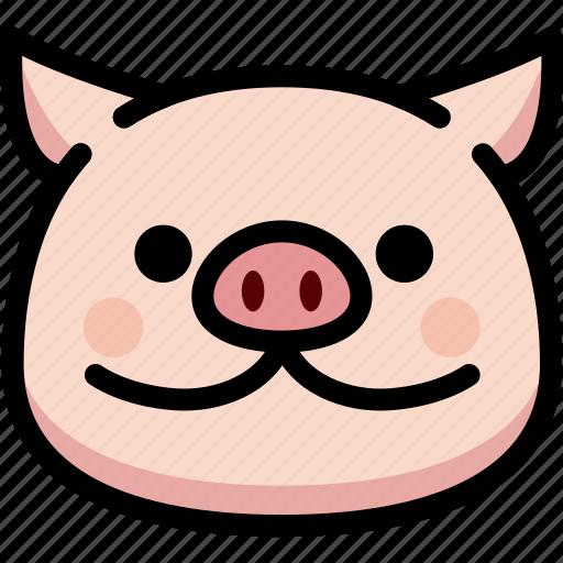 emoji, emotion, expression, face, feeling, pig, smile icon