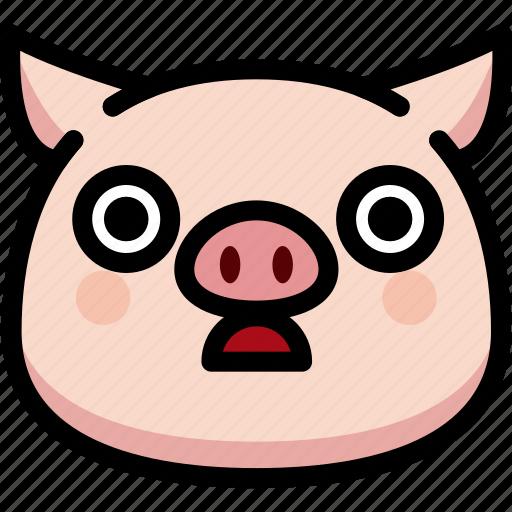 emoji, emotion, expression, face, feeling, pig, stunning icon