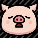 emoji, emotion, expression, face, feeling, pig, tried icon