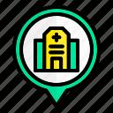 hospital, location, pin, pointer
