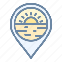 beach, location, pin, place, sunset icon