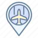 airport, location, map, pin, place icon