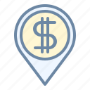 bank, location, money, pin, place icon