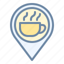 pin, cafe, location, coffee, shop