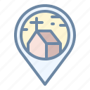 church, location, map, pin, place icon
