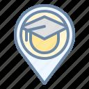 college, education, location, pin, school icon